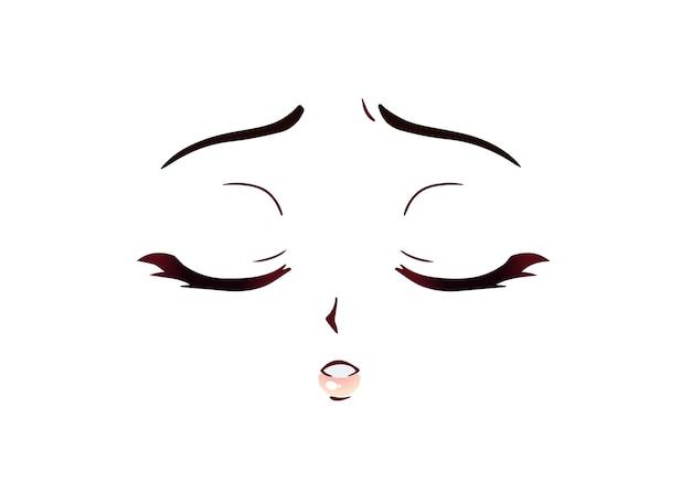 Rosto triste de anime. olhos fechados estilo mangá, nariz pequeno e boca kawaii. mão-extraídas ilustração dos desenhos animados do vetor.