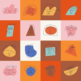 Rostos abstratos contemporâneos de ilustração vetorial com emoções diferentes. diferentes personagens coloridos. destaque da história da mídia social.