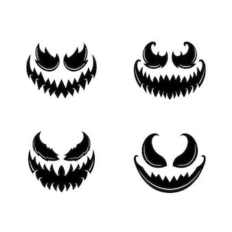Rostos assustadores de abóbora ou fantasma de halloween. coleção de vetores.