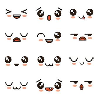 Rostos bonitos cartoons emoji kawaii
