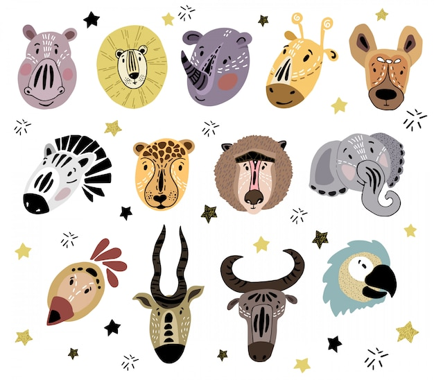 Rostos bonitos de animais africanos dos desenhos animados
