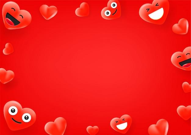 Rostos bonitos de coração vermelho. fundo de mensagem de mídia social. copie o espaço para um texto