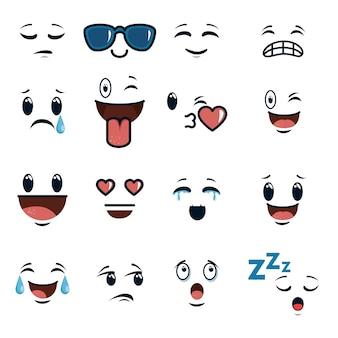 Rostos bonitos doodle emoji cartoon
