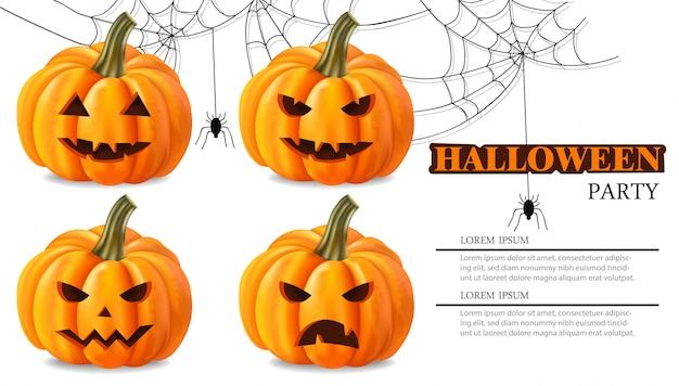 Rostos de abóbora de festa de halloween