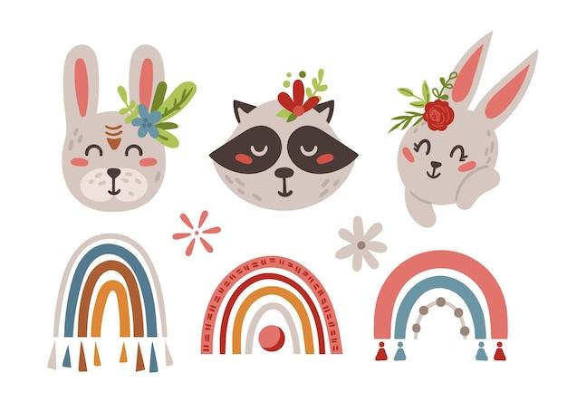 Rostos de animais bebês e elementos boho arco-íris isolados