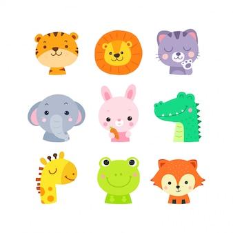 Rostos de animais bonito dos desenhos animados mão desenhada