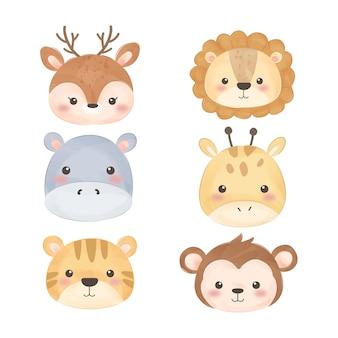 Rostos de animais em aquarela fofos
