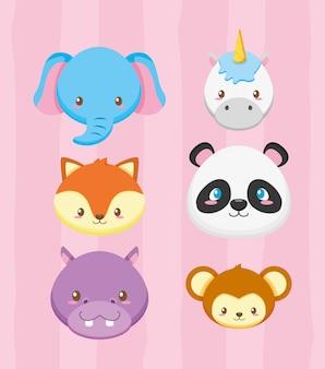 Rostos de animais para cartão de chuveiro de bebê