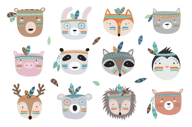 Rostos de animais tribais indianos de vetor com slogan motivacional ilustração de doodle