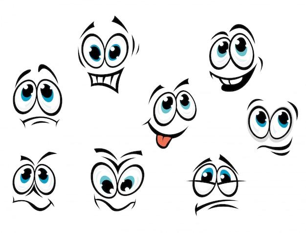 Rostos de banda desenhada dos desenhos animados