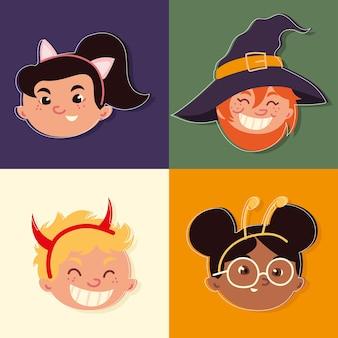 Rostos de crianças com fantasias