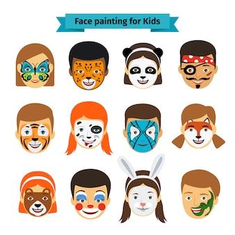 Rostos de crianças com pintura