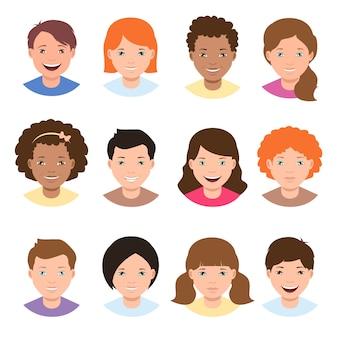Rostos de crianças de raça diferente