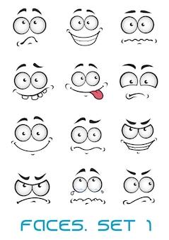 Rostos de desenhos animados com diferentes emoções como felicidade, alegria, quadrinhos, surpresa, tristeza e diversão