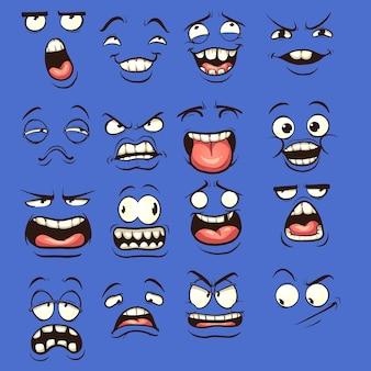 Rostos de desenhos animados com diferentes expressões