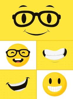 Rostos de desenhos animados e emojis