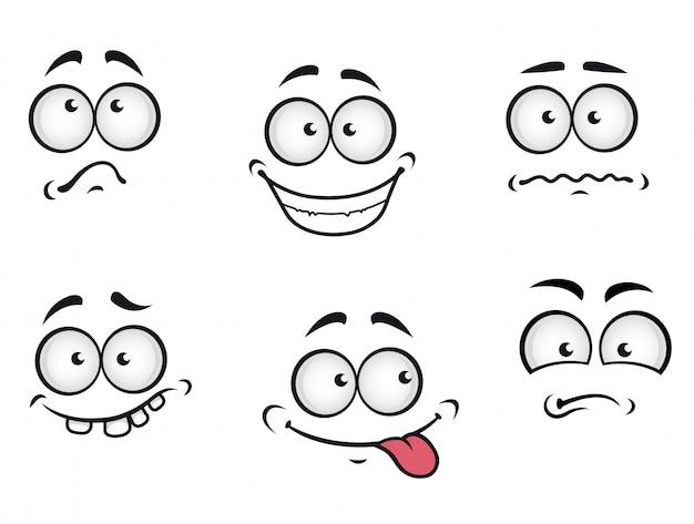 Rostos de emoções dos desenhos animados