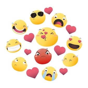 Rostos de emoji com design de conjunto de ícones de corações, expressão de desenho animado emoticon e ilustração vetorial de tema de mídia social