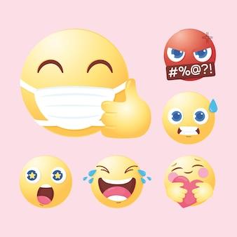 Rostos de emoji de mídia social com ilustração de surpresa de amor zangado