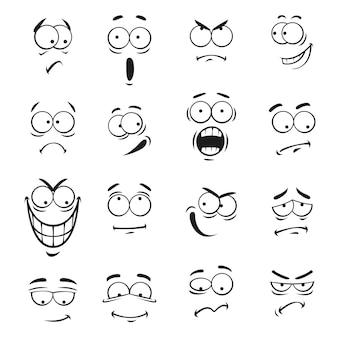 Rostos de emoticon de desenho animado humano com ilustração de expressões