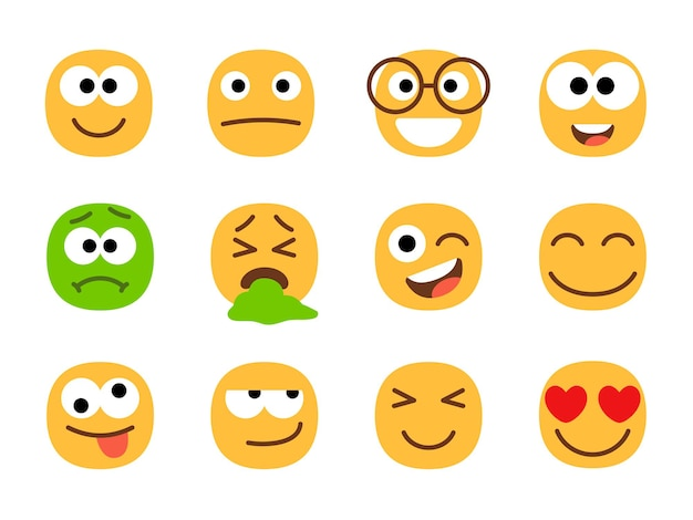 Rostos de emoticons amarelos e verdes.