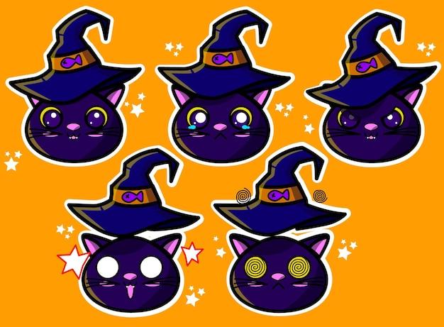 Rostos de gatos de halloween e reações em vetor