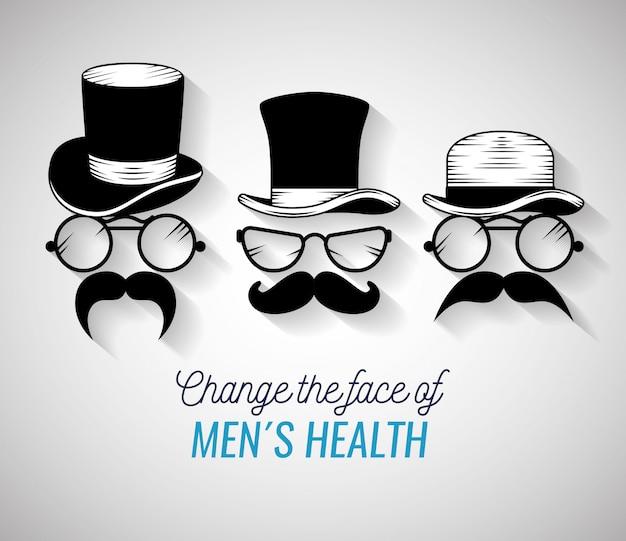 Rostos de homens com chapéu e bigode da moda
