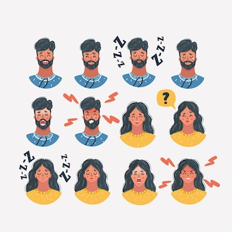 Rostos de ícones masculinos e femininos diferentes