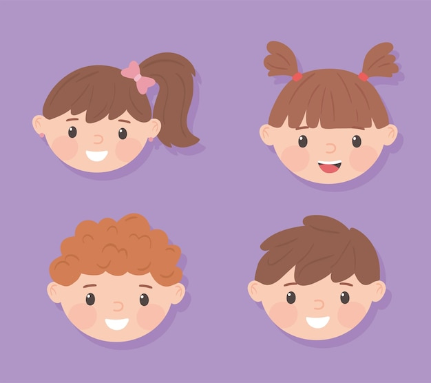 Rostos de meninas e meninos