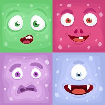 Rostos de monstros quadrados. coleção emocional de rosto bizarro