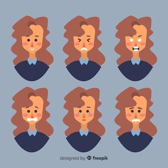 Rostos de mulher com emoções diferentes