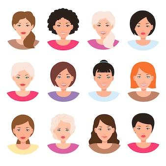 Rostos de mulheres de corrida diferentes. avatar de cabeça de menina
