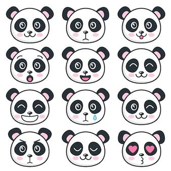 Rostos de panda fofos com emoções diferentes