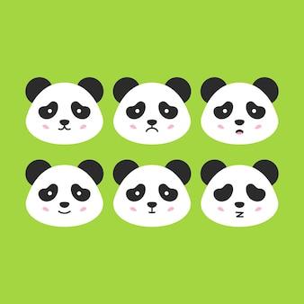 Rostos de pandas emocionais. ilustração em vetor de cabeças de animais fofos.
