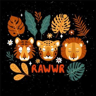Rostos de tigre e leopardo com diferentes folhas tropicais e flores em fundo escuro.