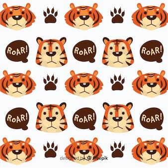 Rostos de tigre e padrão de bolhas do discurso