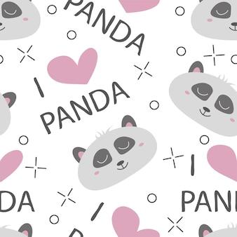 Rostos desenhados à mão de padrão sem emenda de pandas. plano de fundo para roupas infantis. i love panda pattern