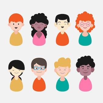 Rostos diversos, expressões felizes pessoas avatares