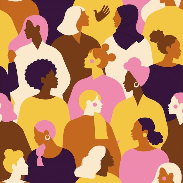 Rostos diversos femininos de padrão sem emenda de etnia diferente. padrão de movimento de empoderamento das mulheres. dia internacional da mulher.