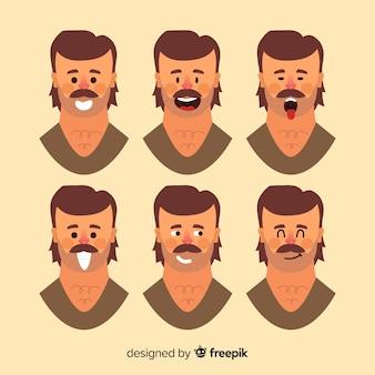 Rostos do homem com emoções diferentes