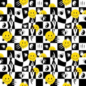 Rostos engraçados de sorriso derretido, padrão sem emenda de aranha. ilustração em vetor mão desenhada doodle personagem de desenho animado. rostos sorridentes derretendo, ácido, trippy, células, aranhas, conceito de impressão de papel de parede de padrão sem emenda tribal