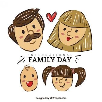 Rostos familiares desenhados mão