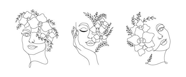 Rostos femininos de arte de linha com arte de linha contínua de flores em estilo minimalista