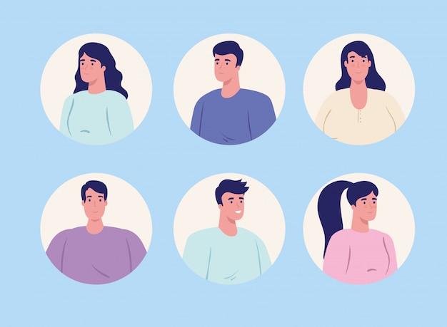 Rostos, jovens no quadro circular sobre fundo azul