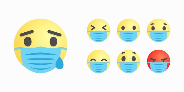 Rostos ou sorrisos em máscara cirúrgica com diferentes expressões faciais