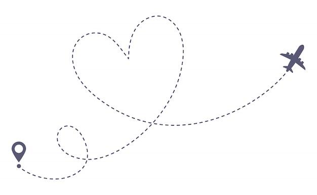 Rota de avião de amor. viagem romântica, rastreamento de linha tracejada de coração e rotas de avião isolaram ilustração