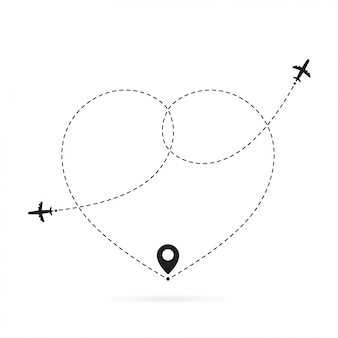 Rota de avião de amor. viagem romântica, rastreamento de linha tracejada do coração e rotas de avião. caminho de aviões de coração