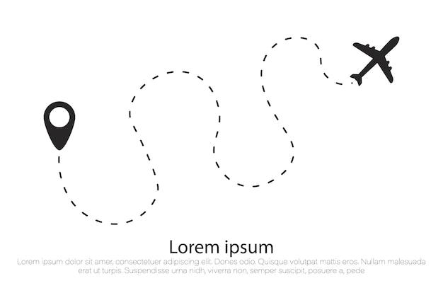 Rota de avião em forma de linha pontilhada