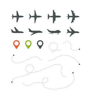 Rota de avião. traço do céu de linhas direcionalmente listradas de voo para conjunto de símbolos de viagens. ilustração viagem voo e viagens, transporte de aeronaves