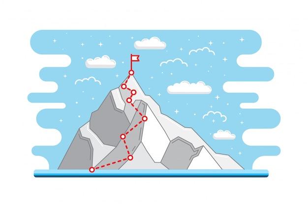 Rota de escalada de montanha ao pico. caminho da jornada de negócios em andamento para o sucesso